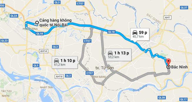 Khoảng cách từ Sân bay Nội Bài đi Bắc Ninh