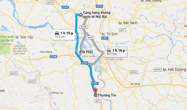Xe đưa đón sân bay Nội Bài đi Thường Tín của Vietjet Air