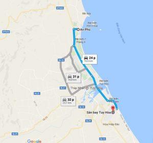 Khoảng cách sân bay Tuy Hòa đi An Phú