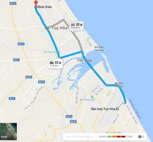 Khoảng cách sân bay Tuy Hòa đi Bình Kiến