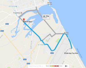 Khoảng cách sân bay Tuy Hòa đi Bình Ngọc