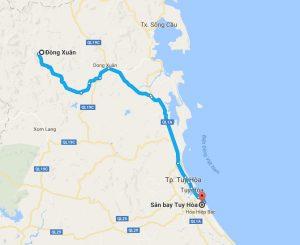 Khoảng cách sân bay Tuy Hòa đi Đồng Xuân
