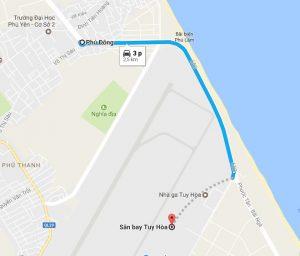 Khoảng cách sân bay Tuy Hòa đi Phú Đông