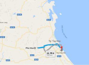 Khoảng cách sân bay Tuy Hòa đi Phú Hòa