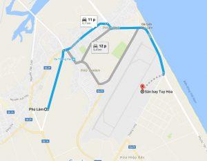 Khoảng cách xe đưa đón sân bay Tuy Hòa đi Phú Lâm