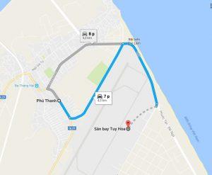 Khoảng cách sân bay Tuy Hòa đi Phú Thạnh