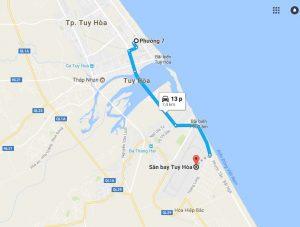 Khoảng cách sân bay Tuy Hòa đi Phường 7 Phú Yên