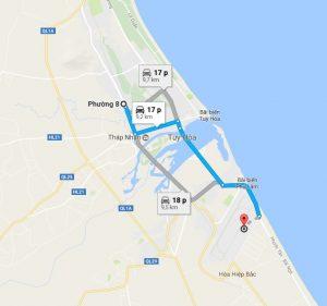 Khoảng cách sân bay Tuy Hòa đi Phường 8 Phú Yên