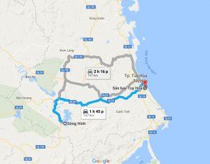 Khoảng cách Sân Bay Tuy Hòa đi Sông Hinh