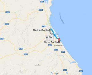 Khoảng cách sân bay Tuy Hòa đi Thành Phồ Tuy Hòa