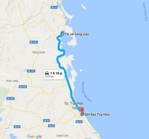 Khoảng cách sân bay Tuy Hòa đi Thị Xã Sông Cầu