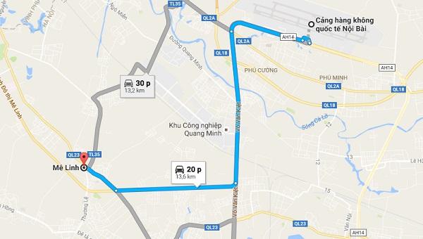 Xe đưa đón sân bay Nội Bài đi Mê Linh của Vietnam Airlines