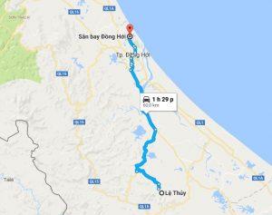 Khoảng cách xe đưa đón sân bay Đồng Hới đi Lệ Thủy