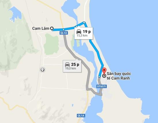 Khoảng cách xe đưa đón sân bay Cam Ranh đi Cam Lâm