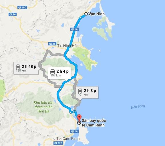 Khoảng cách xe đưa đón sân bay Cam Ranh đi Vạn Ninh