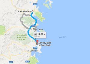 Khoảng cách xe đưa đón sân bay Cam Ranh đi Ninh Hòa
