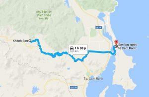 Khoảng cách xe đưa đón sân bay Cam Ranh đi Khánh Sơn