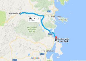 Khoảng cách xe đưa đón sân bay Cam Ranh đi Khánh Vĩnh
