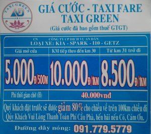 Bảng giá cước taxi Green - Xe đưa đón sân bay Cần Thơ đi Châu Thành A